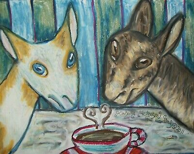 NUBIAN Drinking Coffee Dairy Goat Outsider Pop Vintage Art 8 x 10 Print Signed