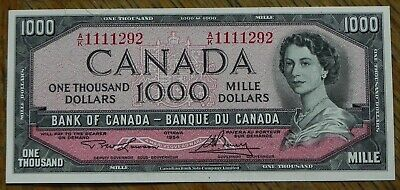 Perfect Gem 1954 $1000 Canadian Bank Note Crisp & Bright!!!