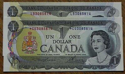 Extremely Rare 2x 1973 Matching Serial #'s $1 Canadian Bank Notes inc *G/U Gems!