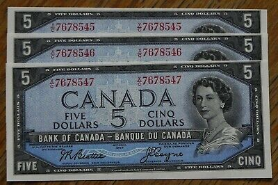 Rare Sequence of 3 1954 Uncirculated $5 Canadian Bank Notes Beattie/Coyne 45-47