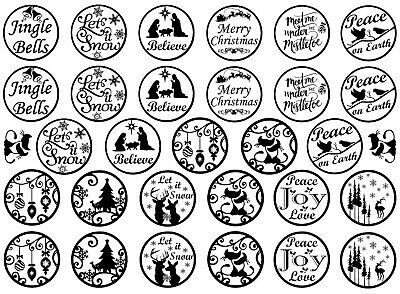 "Christmas Rounds 5""X7"" Card 31 pcs 1"" tall Black Fused Glass Decals 19CC1149"