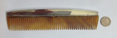 Large Antique Art Deco Hallmarked 1925 Solid Silver & Faux Tortoise Shell Comb.