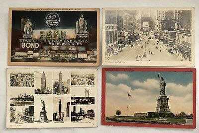 Vintage New York City NYC Postcards Times Square Statue of Liberty Broadway