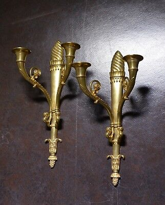Pair Antique early 20th century Neoclassical Gilt Bronze Sconces : Torch