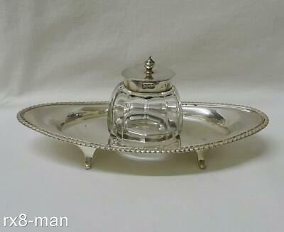 1904 Antique Edwardian Solid Sterling Silver Boat Shaped Inkwell Desk Stand