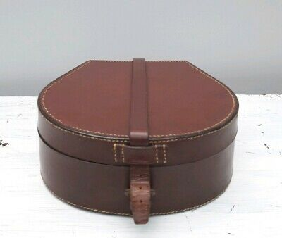 Vintage Small Brown Leather Tan Collar Case Jewellery Box  preloved
