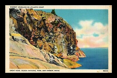 Dr Jim Stamps Us Great Head Acadia National Park Bar Harbor Maine Postcard