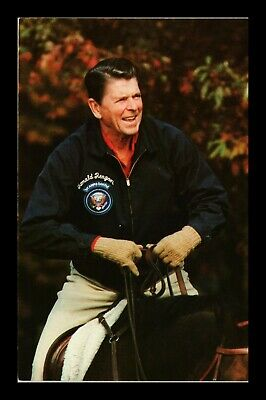 Dr Jim Stamps Us President Reagan Horseback Chrome View Postcard 1981
