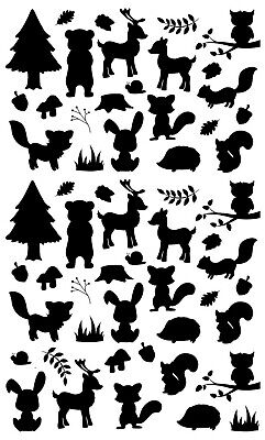 "Forest Bits 57 pcs Black Fused Glass Decals 5"" X 3-1/2"" Card 19CC1150"