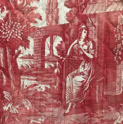RARE 18th/19th CENTURY FRENCH ROMANTIC TOILE DE JOUY c1790s-1800 276.