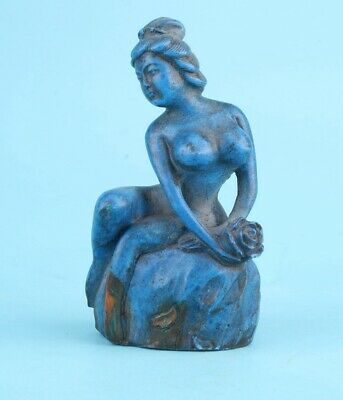 Unique Chinese Lapis Lazuli Hand-Carved Beauty Statue Art Gift Collection