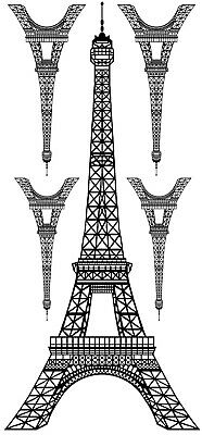 "Eiffel Tower 5 pcs 7-1/2"" and 3"" Black Fused Glass Decals 19CC1153"
