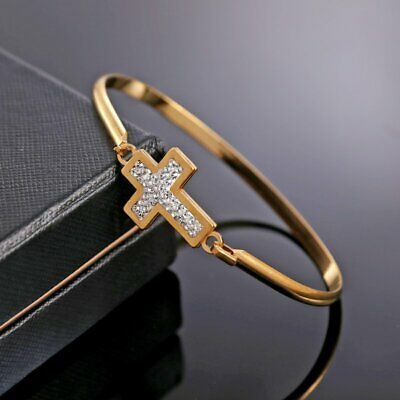 Mother Gold Stainless Steel Cross Women Cuff Bracelet Bangle Family Jewelry Gift