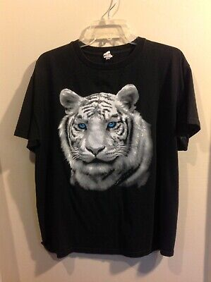 """WHITE TIGER"" GRAPHIC TEE Top BLACK Women's Shirt  Size LARGE"