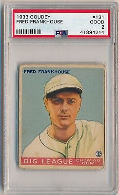 FRED FRANKHOUSE 1933 Goudey Gum #131 PSA 2 GOOD BOSTON BRAVES Vintage Prewar
