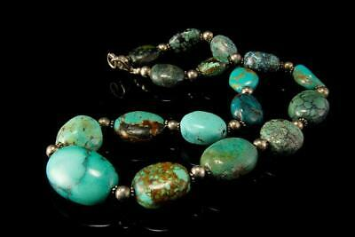 Vintage Chinese Green Turquoise Beads Sterling Necklace A807