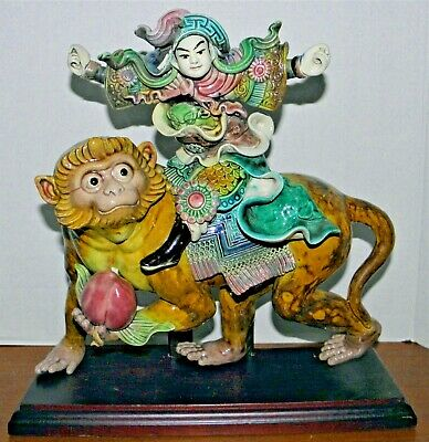"""Chinese Immortal Ceramic Figurine~Riding a Monkey w/ Peach~12""""~Handpainted~As Is"""