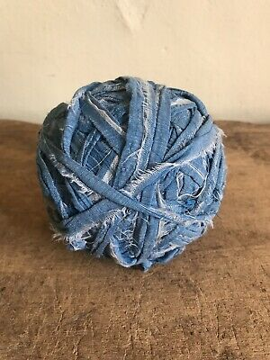 BIG BEST Early Antique Blue Fabric Rag Ball Textile AAFA