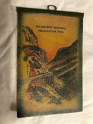 Golden Gate Driveway, Yellowstone Park with Hook Vintage LEATHER Postcard