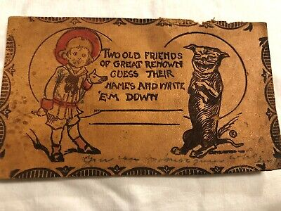 Two Old Friends Child and DOG Vintage LEATHER Postcard