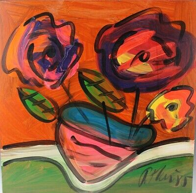 Signed PETER KEIL German Neo Expressionist Floral Still life Oil Painting LISTED