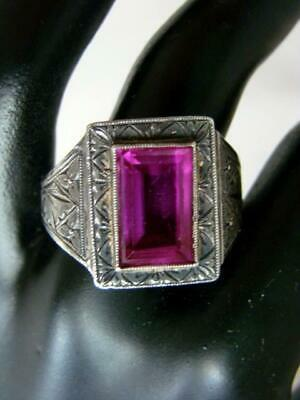 Heavy ART DECO Men's Hand Chased Sterling, Emerald Cut, Synthetic Ruby Ring