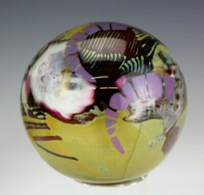 S Rogers Cased Abstract Studio Hand Blown Signed Art Glass Desk Paperweight SWD