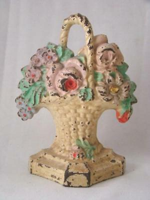Antique Butter Yellow HUBLEY #8 Cast Iron Doorstop PINK ROSES Floral BASKET