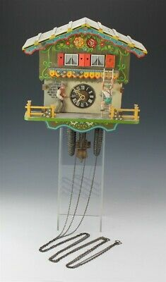 Vtg Black Forest Chalet Style Hand Carved Painted Wood Figural Cuckoo Wall Clock