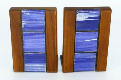 Martz Marshall Bookends Mid Century Modern MCM Set 2 Walnut Blue Ceramic Tile