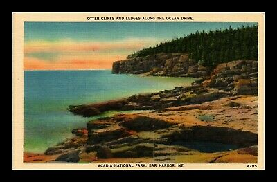 Dr Jim Stamps Us Otter Cliffs Acadia National Park Linen Postcard Bar Harbor