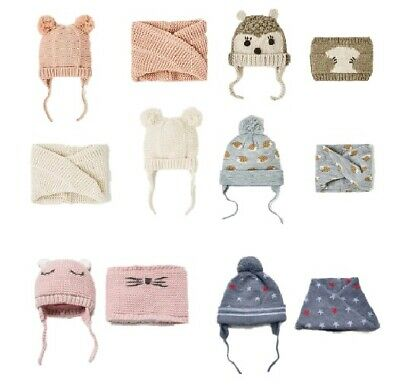 Cute Baby Scarf 2 Pcs Lot Girl Hat Autumn Winter Double Layer Knit Warm Kids Cap