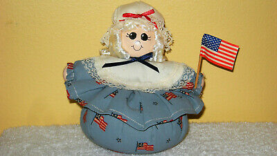 "HANDMADE 5"" ROLY POLY AMERICANA BETSY ROSS JULY 4th BEAN BAG POTPOURRI DOLL DECO"