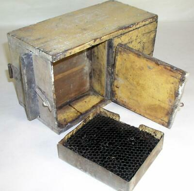 Antique Tin- Wooden Bee Lining Or Hunting Box Apiary Beekeeping Yellow Painted