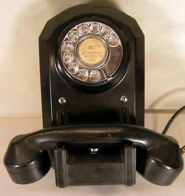 Antique Automatic Electric Wall Mounted Rotary Telephone W Old Label On Back
