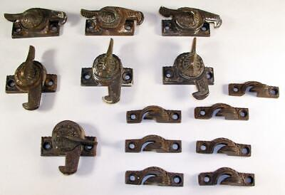 7 Antique Fancy Victorian Brass & Cast Iron Window Sash Latches Locks