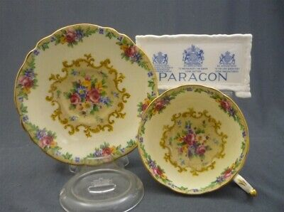 Wide Fancy Footed Paragon England TAPESTRY ROSE Bone China Cup & Saucer Duo Set