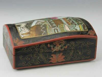 Japanese Painted Scroll Floral Black Lacquered Porcelain Lidded Jewelry Box BVR