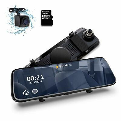 """10"""" HD Dual Lens Car DVR Mirror Dash Cam Front and Rear with 32GB Memory Card UK"""