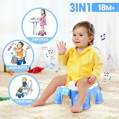 3-in-1 Baby Toddler Toilet Trainer Kids Potty Training Safety Music Seat Blue