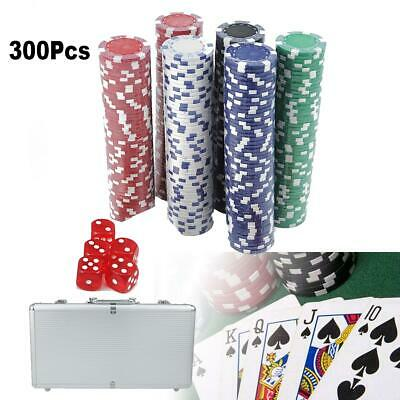 300 Clay Chips 2 Poker Cards 5 Dices Set w/ Aluminum Carry Case Casino Games
