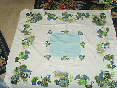 Stunning vintage blue Americana country farmhouse tablecloth Eagle horse green
