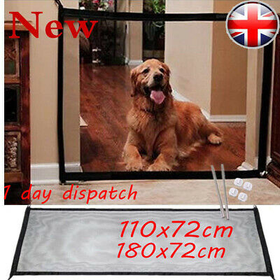 Retractable Pet Dog Gate Safety Guard Folding Baby Toddler Stair Isolation Net