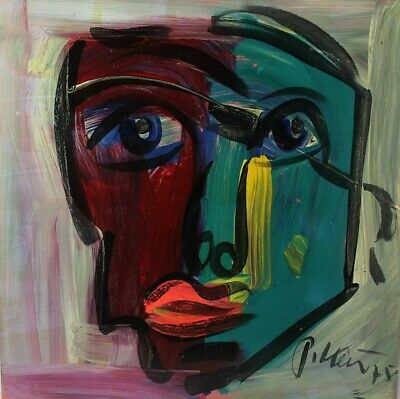 Signed PETER KEIL German Neo Expressionist HELLO Portrait Oil Painting LISTED