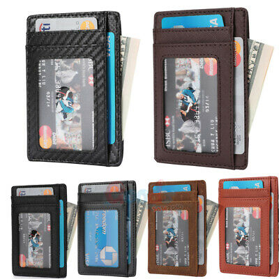 Slim Genuine Leather Slim Card Holder Wallets For Men - Minimalist RFID Blocking