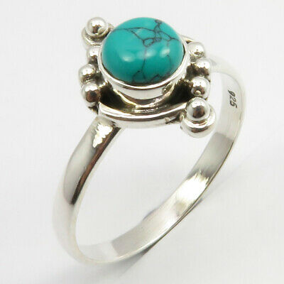 Solid Sterling Silver Turquoise Antique Look Ring Size 9 Stone Jewelry