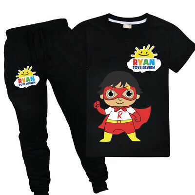 100% Cotton Ryan Toys Review Cartoon Costume Casual T shirt +Trousers Outfit Set