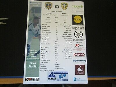 2019-20 PRE-SEASON FRIENDLY GUISELEY AFC   v  LEEDS UNITED  COLOUR TEAM SHEET