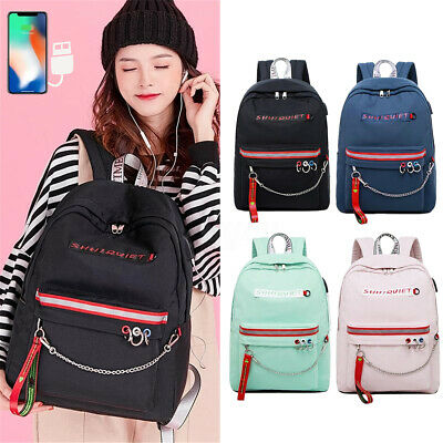 2019 Anti-theft USB Charger School Backpack Chain Laptop Bag Travel Rucksack