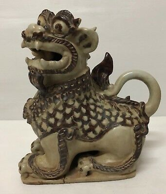 ANTIQUE 19th THAI  SI SATCHANALAI CELADON  NAGA DRAGON DOG  ROOF FINIAL  FIGURE